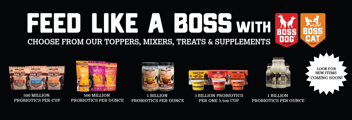 Feed like a boss with Boss dog and boss cat. Choose from our topper, mixers, treats & supplements